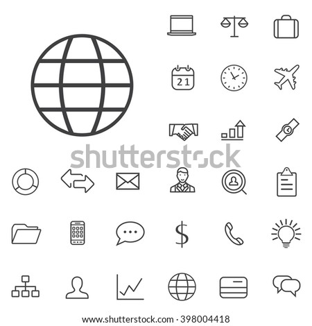 Linear Business icons set. Universal Business icon to use in web and mobile UI, Business basic UI elements set - stock vector