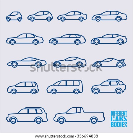 linear cars icons set, different bodies of cars - stock vector