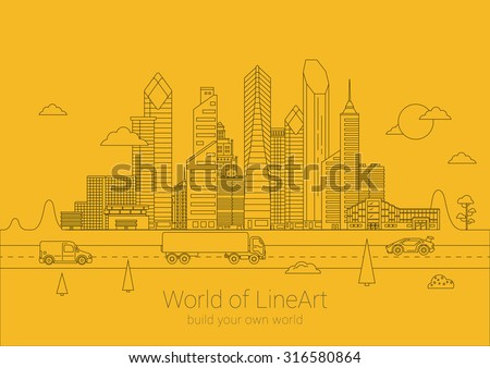 Linear cityscape Business Skyscrapers poster design vector template. Line art Commercial property City life Banner idea. Linear outline Real Estate concept. - stock vector