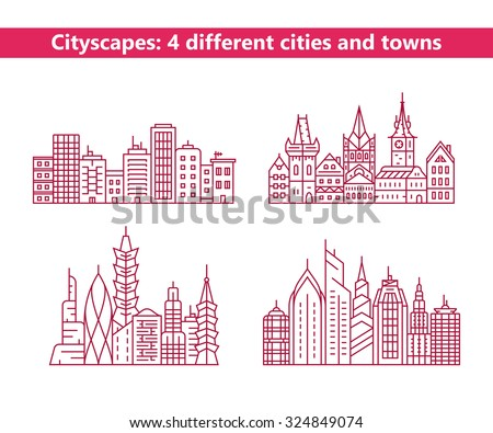 Linear cityscapes. Four different cities and towns. Urban city and old town skyline and buildings
