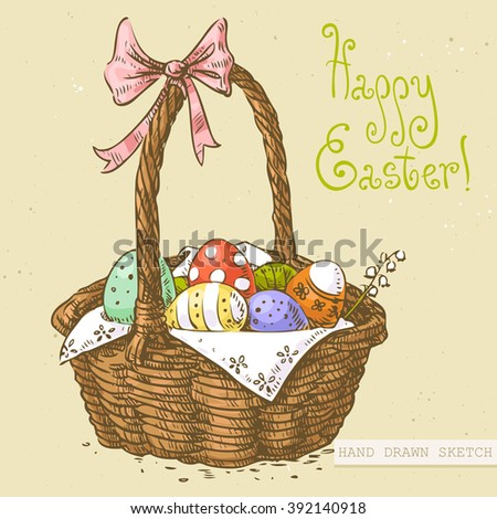 Linear colored sketch of the easter basket with eggs, bow and green text Happy Easter. Hand drawn vintage vector illustration with lettering happy easter on the textured beige paper background. - stock vector