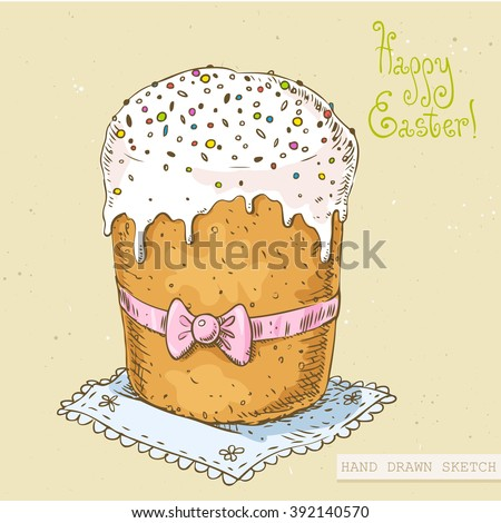 Linear colored sketch of the easter cake with bow on the napkin with green text Happy Easter. Hand drawn vintage vector illustration with lettering happy easter on the textured beige paper background. - stock vector