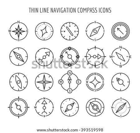 Linear compass icons. Thin line navigation symbols on white background. Vector illustration