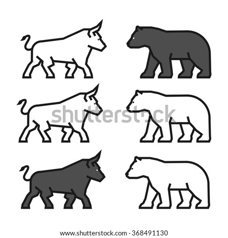 Linear concept for gambling on the rise and a fall. Vector line bull and bear. Line logo for stock market. - stock vector