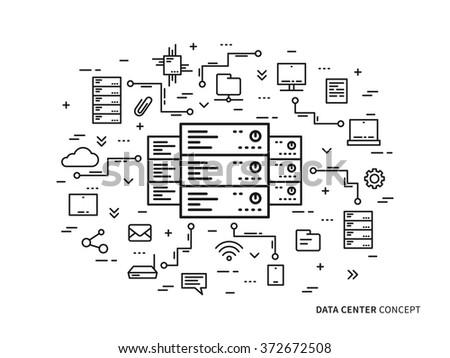 Linear data center (server park, hosting center) vector illustration. Data center (network equipment, hosting storage, database technology) creative concept. Data infrastructure graphic design.  - stock vector