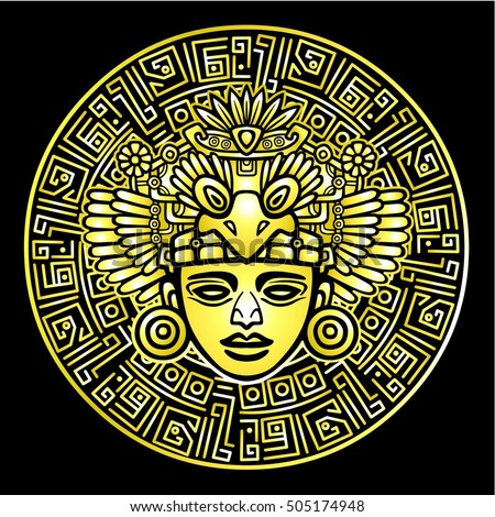 Linear drawing: decorative image of an ancient Indian deity. Magic circle. Gold imitation. Vector illustration isolated on a black background.