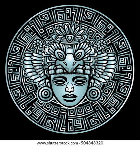 Linear drawing: decorative image of an ancient Indian deity. Magic circle. Silver imitation. The vector illustration isolated on a black background.
