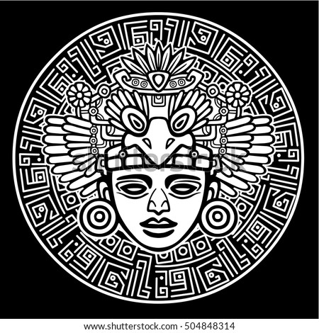 Linear drawing: decorative image of an ancient Indian deity. Magic circle. Vector illustration: the white silhouette isolated on a black background.