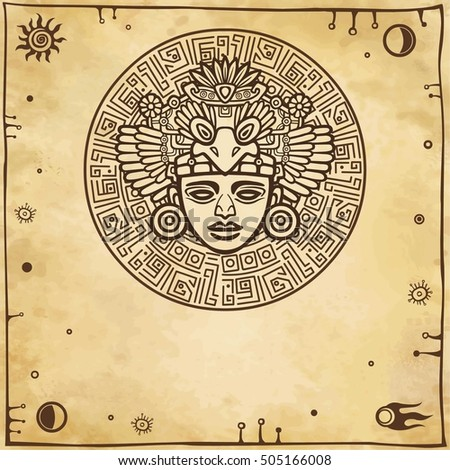 Linear drawing: decorative image of an ancient Indian deity. Space symbols. A background - imitation of old paper. Vector illustration.