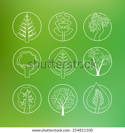 Linear drawing of a set of trees and Christmas trees for design and creativity and inspiration - stock vector