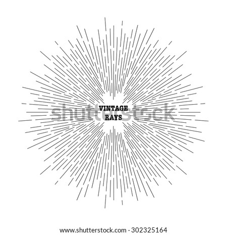 Linear drawing of rays of the sun. Vintage style of the image. Design elements for your projects. Hipster style. Light rays of burst. Rays radiating from a central object or source of light. - stock vector