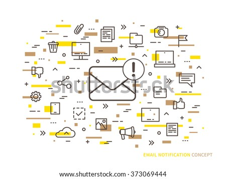Linear e-mail notification (mail notice, advice, note) vector illustration. Mail notice (envelope, correspondence, mobile web technology) creative concept. Message reminder (mail application) design.  - stock vector