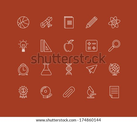 linear education icons - stock vector