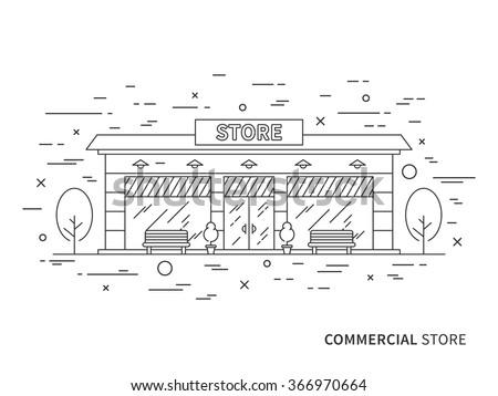 Linear flat exterior (landscape) design illustration of modern designer store (shop) with windows, trees, decorative. Outline vector graphic concept of store (shop) exterior (landscape) design.    - stock vector