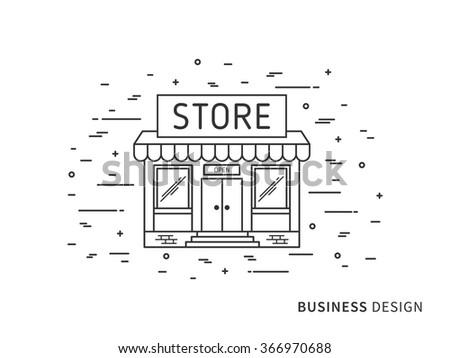 Linear flat exterior (landscape) design illustration of modern designer store (shop) with windows, decorative elements. Outline vector graphic concept of store (shop) exterior (landscape) design.    - stock vector
