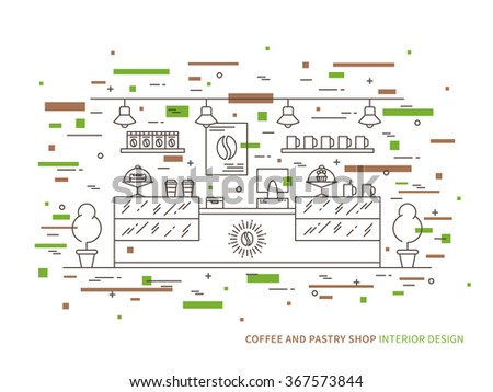 Linear flat interior design illustration of modern coffee and pastry shop (store, cafe) interior space with dessert, shelves, counter, showcase. Outline vector graphic concept of coffee shop.    - stock vector