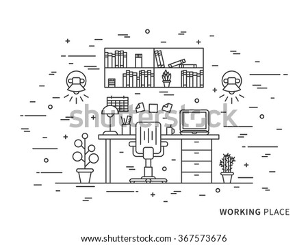 Linear Flat Interior Design Illustration Of Modern Designer Working Place Space With Shelves Table