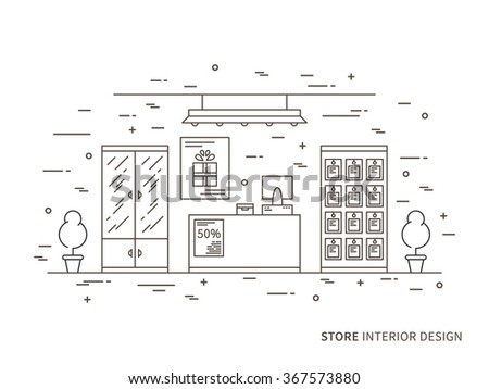 Linear flat interior design illustration of modern shop (store) interior space with flowers, shelves, table, counter, showcase. Outline vector graphic concept of shop (store) interior design.    - stock vector