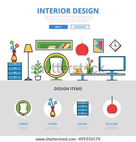 Linear Flat Interior Design Website Infographics Template And Icons Hero Image Vector Illustration Room