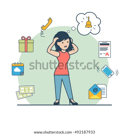 Linear Flat Stressed young woman holding head in panic, bell in a thought bubble and tasks around vector illustration. Memory limits, deadline concept. Money, schedule, data, message, document icons.