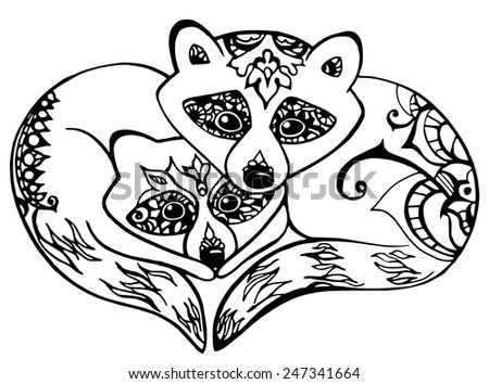 Linear hand drawn image raccoons with natural patterns/Raccoon. Can be used for greeting cards, scrapbooking, print, wrap, manufacturing. Animal theme.