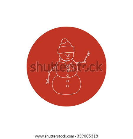 Linear Icon Christmas Snowman in a Hat and Scarf, Colorful Round Icon Christmas Snowman, Christmas Decorations, Icon in Linear Style ,  Vector Illustration - stock vector