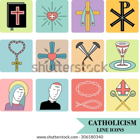 Linear icons of catholic religion. Vector icon set. - stock vector