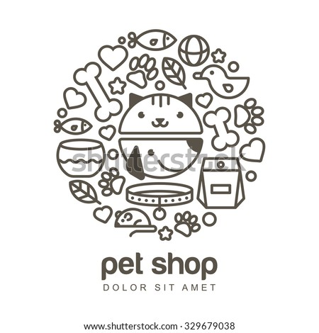 Linear illustration of funny muzzle of cat and dog. Goods for animals, vector icons set. Abstract design concept for pet shop or veterinary.  - stock vector