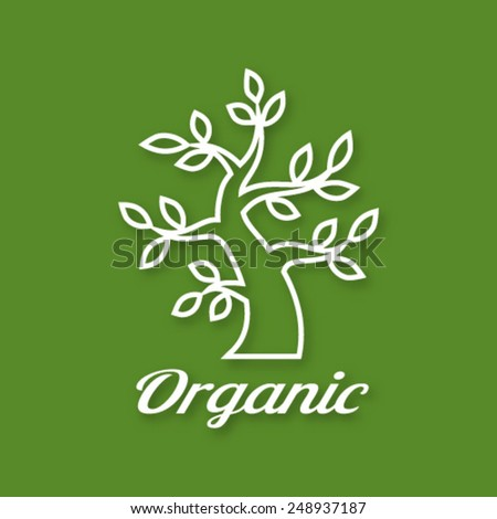 Linear illustration of Organic green tree logo, eco emblem, ecology natural symbol, vector illustration