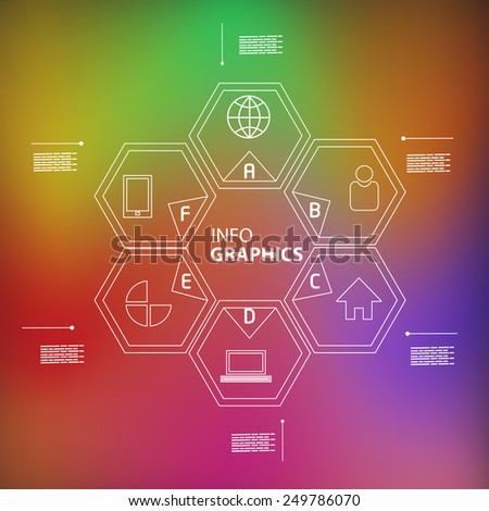 linear infographic design in blur colorful background - stock vector
