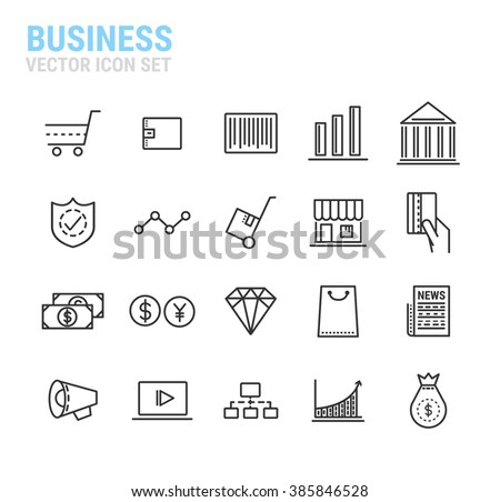 Linear Internet Business line icon set.