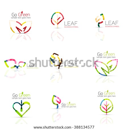 Linear leaf abstract logo set, connected multicolored segments of lines. Vector minimal wire business icons isolated on white. Flat design