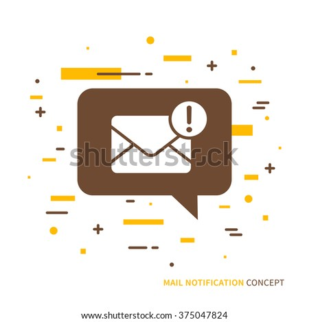 Linear mobile mail notification. Flat web mail notice. Mail message speech cloud symbol. Creative concept phone mail graphic design banner. Mail inbox app icon. Vector mail notice sign illustration.  - stock vector