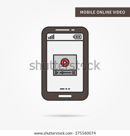 Linear mobile online video. Flat phone online video streaming app. Mobile web online video technology symbol. Creative mobile online video graphic design. Vector online video software illustration.  - stock vector