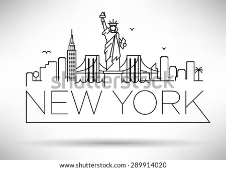Linear New York City Skyline with Typographic Design - stock vector