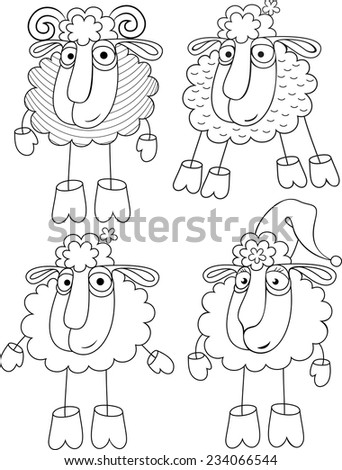 Linear option of drawing a sheep and sheep. - stock vector