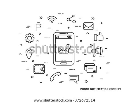 Linear Phone Notification (mail, call, message, note) vector illustration. Phone Notification (mobile technology) creative concept. Phone Notification (information) graphic design.  - stock vector