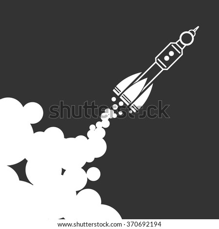 Linear rocket icon with clouds on a black background - vector illustration - stock vector