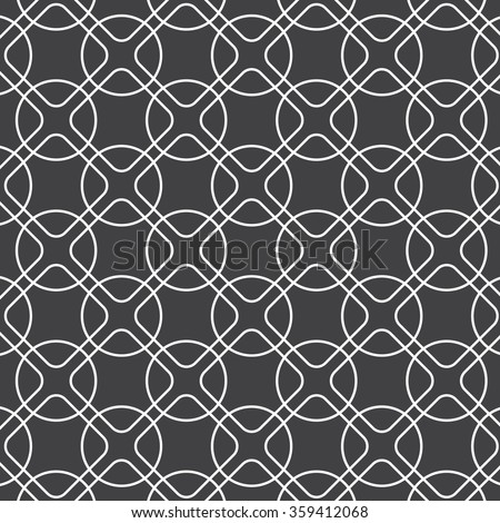 linear rounded diamond shape and circle, vector pattern - stock vector