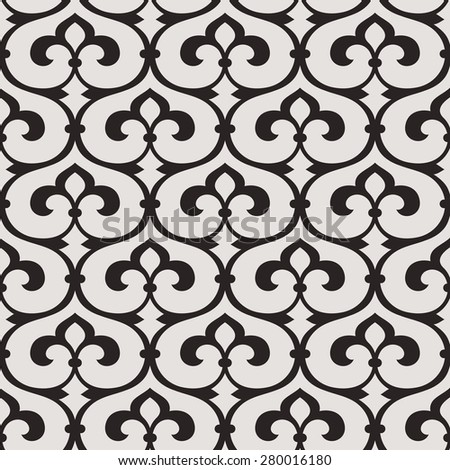 Linear seamless pattern.  Decorative lattice in the Moroccan style with scrolls and abstract floral elements on light background.  Continuous branches. - stock vector