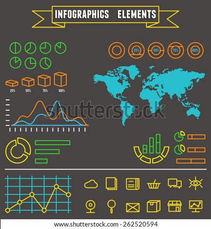 Linear set of business  infographics elements and symbols for design - vector elements - stock vector