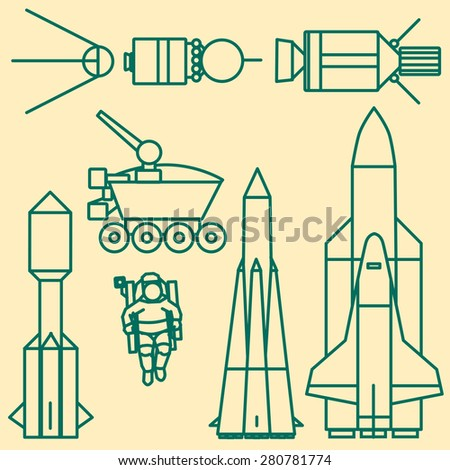 Linear set of icons relating to space exploration.  - stock vector