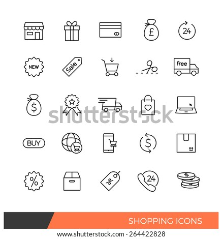 Linear Shopping e-commerce line icons - stock vector
