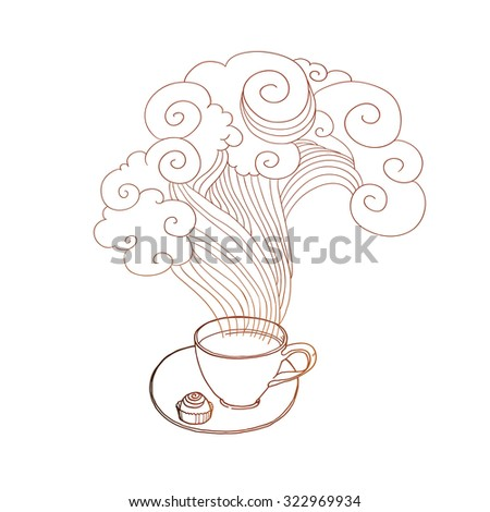 Linear sketch coffee cup at saucer with steam and chocolate. Vector creative cafe menu illustration. - stock vector