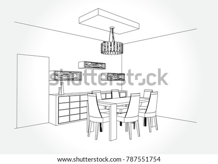 Dining Room Sketch Stock Images, Royalty-Free Images & Vectors ...
