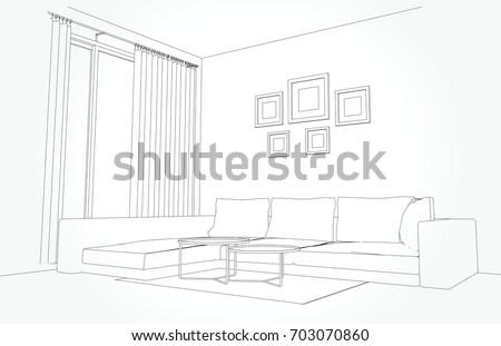 Linear Sketch Interior Living Room Plan Stock Vector 703070860 ...