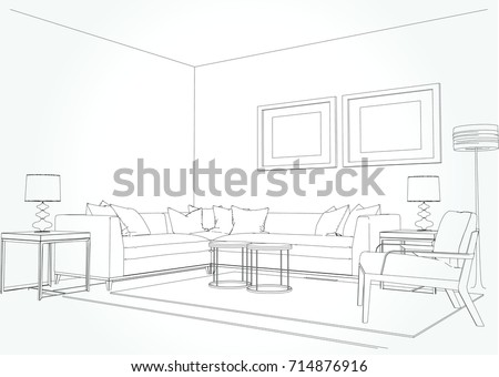 drawings of living rooms linear sketch interior living room plan stock vector 16101