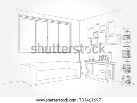 Living Room Plan Sketch Line Sofa Set Vector