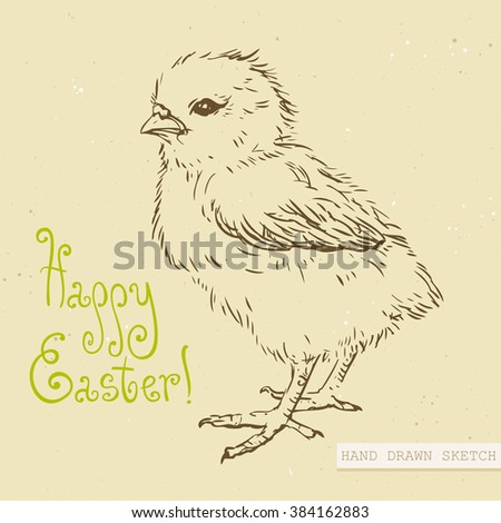 linear sketch cute easter baby chick stock vector royalty free