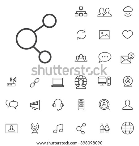 Linear social media icons set. Universal social media icon to use for web and mobile UI. social media basic UI elements set - stock vector